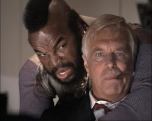 George Peppard (met sigaar) en Mr. T. in The A-Team
